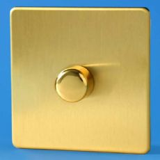 Varilight 1 Gang 1 or 2 Way 400W Push on/off Dimmer Light Switch Screwless Brushed Brass HDB3S